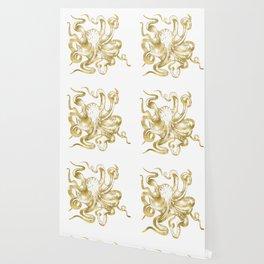Gold Octopus Wallpaper