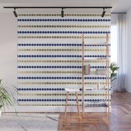 Elegant modern faux gold navy blue polka dots stripes Wall Mural