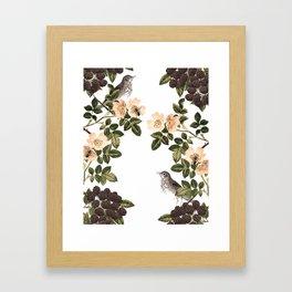 Blackberry Spring Garden - Birds and Bees Cream Flowers Framed Art Print