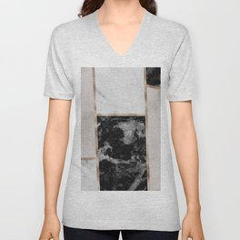 Taupe stones - black marble features Unisex V-Neck