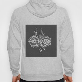 two white ink flowers Hoody