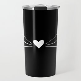 Cat Heart Nose & Whiskers White on Black Travel Mug