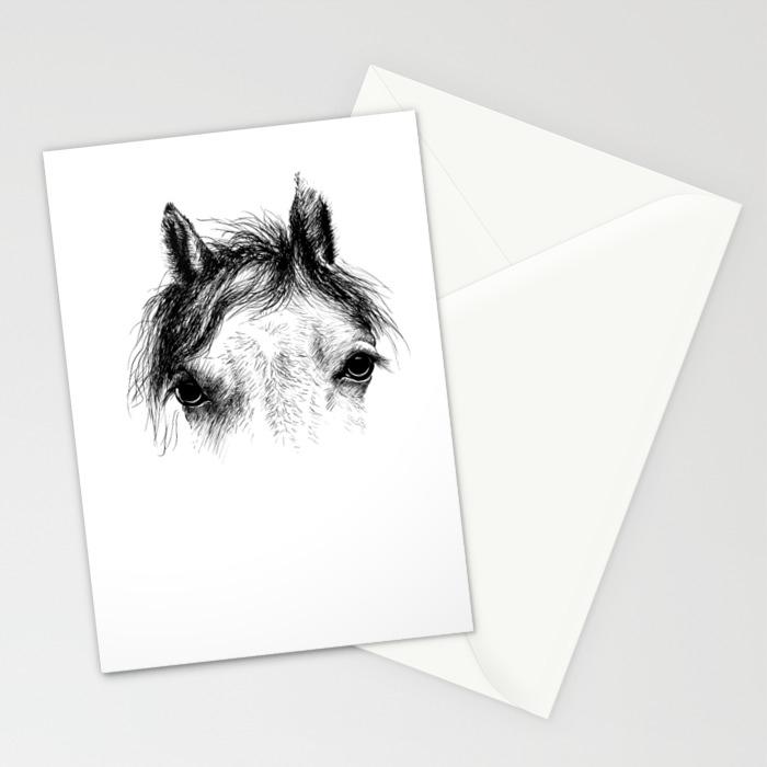 Horse Animal Head Eyes Ink Drawing Illustration Mammal Face Portrait Stationery Cards By Arija Art Society6
