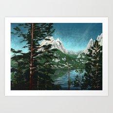 Tetons across Jenny Lake Art Print
