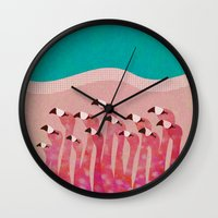 flamingos Wall Clocks featuring Flamingos by Claudia Voglhuber