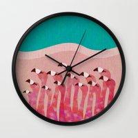flamingos Wall Clocks featuring Flamingos by Claudia Voglhuber