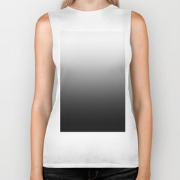 White to Black Horizontal Linear Gradient Biker Tank