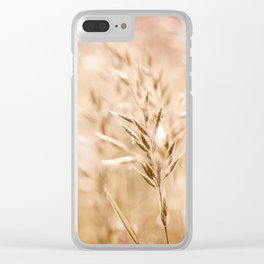 Sepia toned ripe grass inflorescence Clear iPhone Case