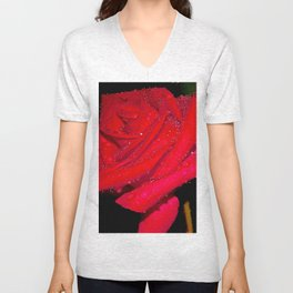 A beautiful red rose Unisex V-Neck