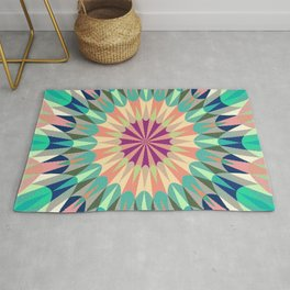 Retro Geometry Mandala Deep Pastels #2 Rug