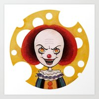 pennywise Art Prints featuring Pennywise Cheese by ajd.abelita