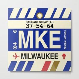 MKE Milwaukee • Airport Code and Vintage Baggage Tag Design Metal Print