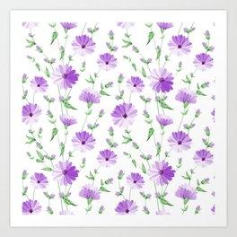 Chicory seamless pattern Art Print