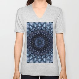 Dark and light blue mandala Unisex V-Neck