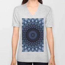 Dark and light blue mandala Unisex V-Neck