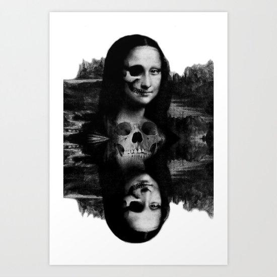 Mona Lisa Abstract skull portrait Art Print