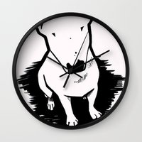 bull terrier Wall Clocks featuring bull terrier by sabrina.gennari