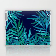 Watercolor Palm Leaves on Navy Laptop & iPad Skin