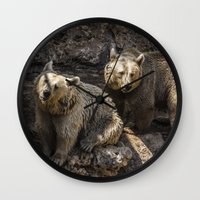 bears Wall Clocks featuring Bears by Veronika