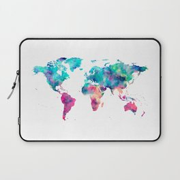 World Map Turquoise Pink Blue Green Laptop Sleeve