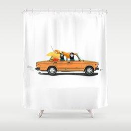 Llama on a Lada Shower Curtain
