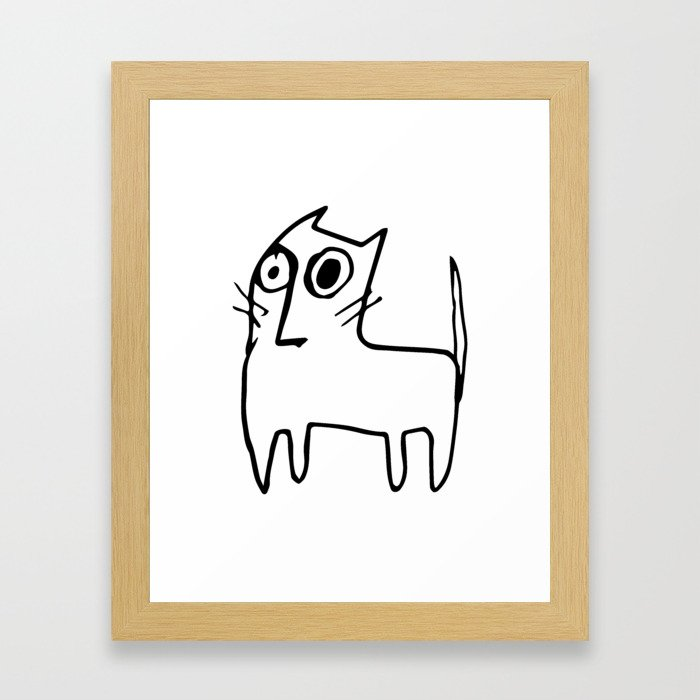 A mangy, miffed and slightly damaged cat Framed Art Print