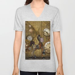 Cute little steampunk horse, funny cartoon Unisex V-Neck