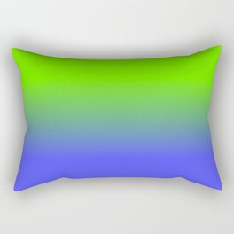 Neon Blue and Neon Green Ombré  Shade Color Fade Rectangular Pillow