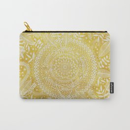 Medallion Pattern in Mustard and Cream Carry-All Pouch