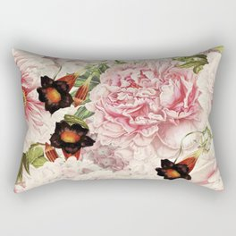 Vintage & Shabby Chic Pink Floral Peonies Flowers Garden Watercolor Pattern Rectangular Pillow