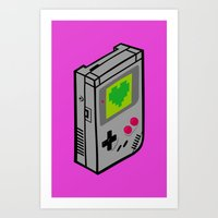 gameboy Art Prints featuring Gameboy Love by Artistic Dyslexia
