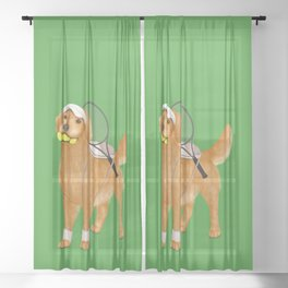 Ready for Tennis Practice (Green) Sheer Curtain