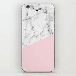 Real White Marble Half Powder Blush Pink iPhone Skin