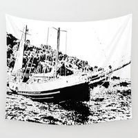 sailboat Wall Tapestries featuring Vintage Sailboat by The Art of Rido