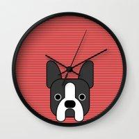 boston terrier Wall Clocks featuring Boston Terrier  by lllg