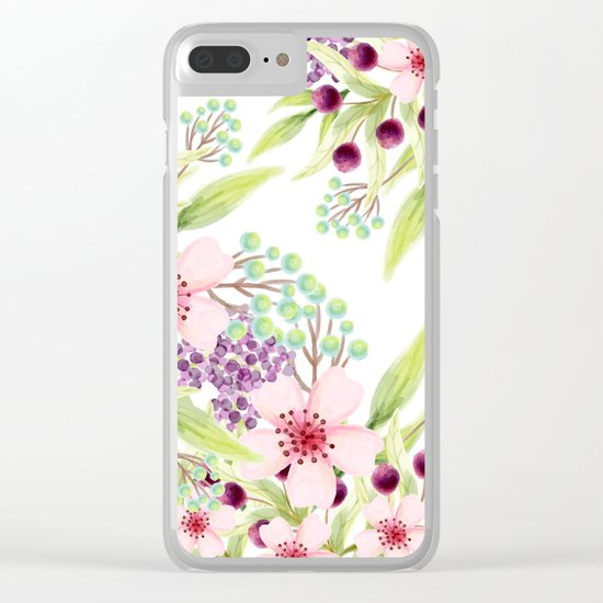 FLOWERS WATERCOLOR 7 Clear iPhone Case