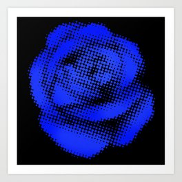 Blue Halftone Rose on Black Art Print