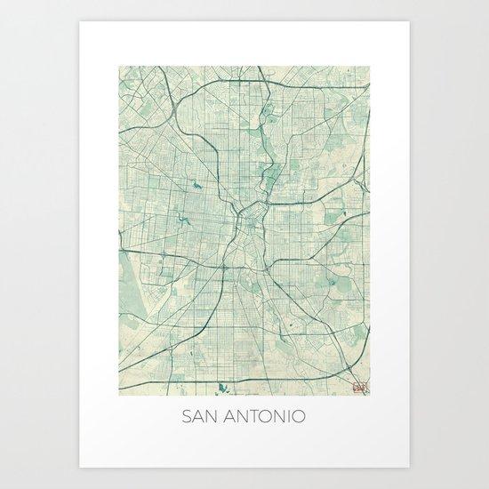 San Antonio Map Blue Vintage Art Print