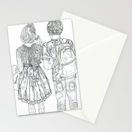 Geometric drawing Japanese couple black and white illustration Stationery Cards