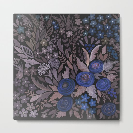 Watercolor blue flowers . The blue of the night . Metal Print