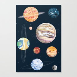 Marbly Warbly Planets Canvas Print