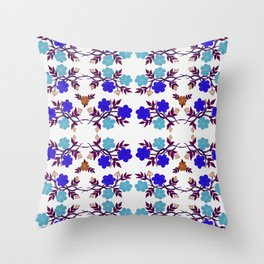 Blue Floral Wreath Throw Pillow