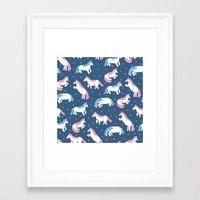 unicorns Framed Art Prints featuring Unicorns by Sara Maese