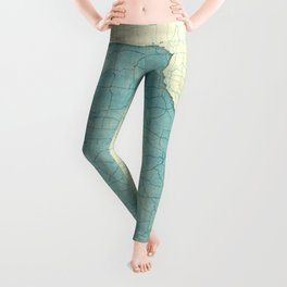 Missouri State Map Blue Vintage Leggings