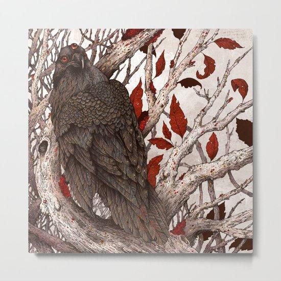 A Raven In Winter Metal Print
