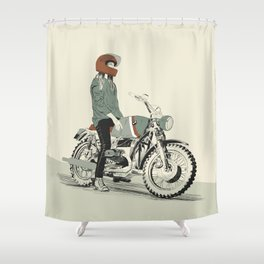The Woman Rider Shower Curtain