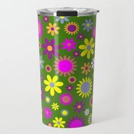 Multicolored Flower Garden Pattern Travel Mug