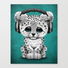 Cute Snow leopard Cub Dj Wearing Headphones on Blue Canvas Print