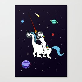 Unicorn Riding Dinocorn In Space Canvas Print