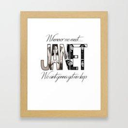 Janet Jackson No Sleep Framed Art Print
